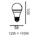 Ampoule LED COB - E27 - 12W - 180°