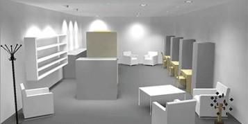 Idée d'aménagement lumière dans un salon de coiffure